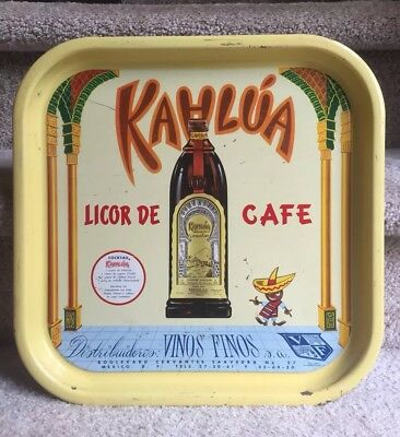 Vintage Kahlua Coffee Liquor Tray Rare Beer Mexico Advertising Litho Lithograph