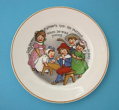 Antique Children's Pottery Plate Tom The Pipers Son He Learned To Play  T16