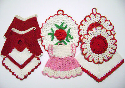Vintage Assorted Crochet Potholders Lot (8) Most Red & White