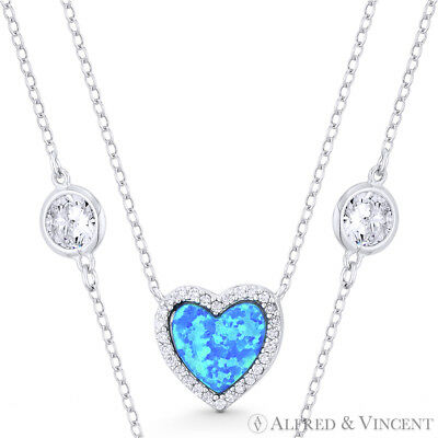 Blue Lab-Opal CZ Crystal 925 Sterling Silver Heart Pendant Love Charm & Necklace