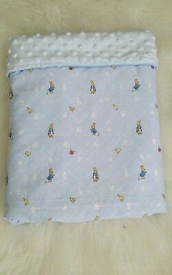 New Peter Rabbit Bassinet/pram quilt with soft sky blue minky backing