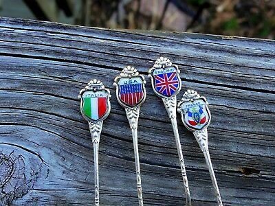 Antique 800 Solid Silver Enamel Souvenir Spoons Set 4 France Italy USA England