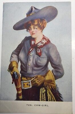 VINTAGE COWBOY POSTCARD #729 COW-GIRL UNPOSTED by Williamson Haffner