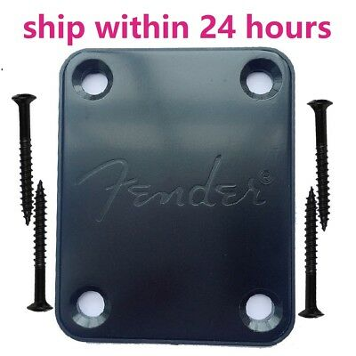 Black Electric Guitar Neck Plate for Fender Style Mit Fender Logo Guitar Parts