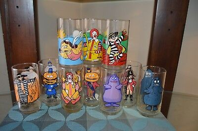 Set of 10 Vintage  McDonalds  Glasses Mcdonaldland Collector Series Coca Cola