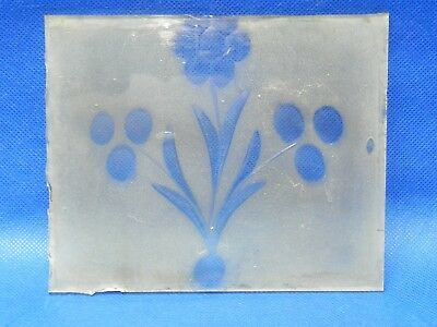 """Vintage Antique Clock Etched Frosted Door Hand Blown Glass 5-3/4"""" x 4-3/4"""""""