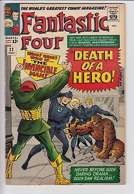 Fantastic Four 32 Invincible Man Silver Age Marvel Comics Jack Kirby 7.0 FN/VF