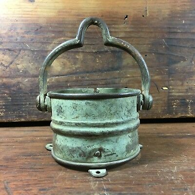 Stunning Antique Brass Copper Relic Implement Mining Bucket Lamp Pot Cauldron