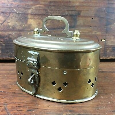 Vintage Ceylon? Pierced Brass Lockable Tea Caddy Trinket Box Middle Eastern