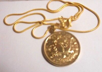 "Sarah Coventry gold tone Zodiac pendant & necklace ""CAPRICORN."
