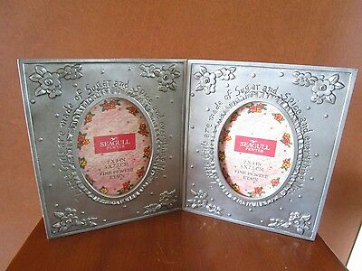 Seagull Pewter Double Hinged Oval Picture Frame  Little Girls Sugar & Spice