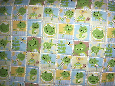 Homemade Baby Quilt   Frogs And Turtles In Bright Green And Yellow