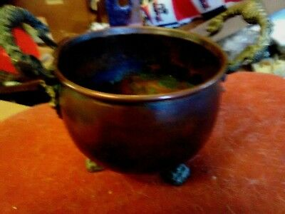 COPPER CLAW FOOT PLANTER POT With BRASS LIONS  HEAD HANDLES VINTAGE