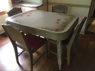 vintage wood mid century red tulip stenciled table and chairs dining set
