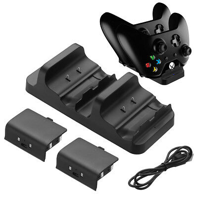 Dual Charging Dock Station Controller Charger+ 2 Extra Battery Pack For XBOX ONE