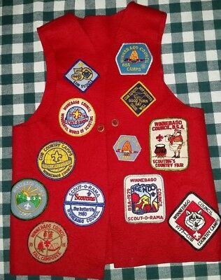 Vtg BSA Cubs Scouts Red Vest 14 Patches from 1977-83 Winnebago Council