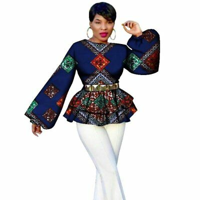 African Bazin Riche Tops Tees For Women Dashiki Print Puff Sleeve Tops Clothing