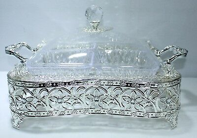 New 35x35cm Decorative Silver Sweets Tray With 4 Acrylic Bowls 29009
