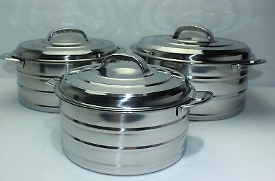 New Set of 3 Stainless Steel Hotpots Food Warmer 2L/3L/4L 31116