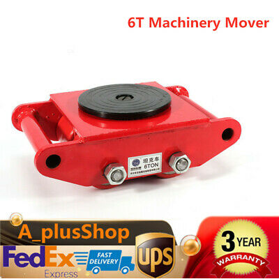 6T 13200lb Heavy Duty Machine Dolly Skate Roller Machinery Mover 360° Rotation