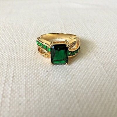 Size 8 Gold Tone Ring Dark Green Rhinestones May be Plated