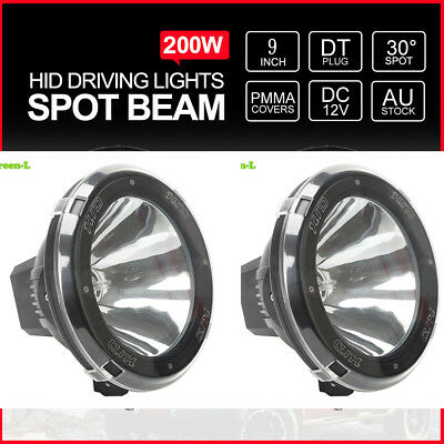 "Pair 9"" inch 200W HID Driving Lights XENON Spotlights Offroad 4x4 12V Black &LED"