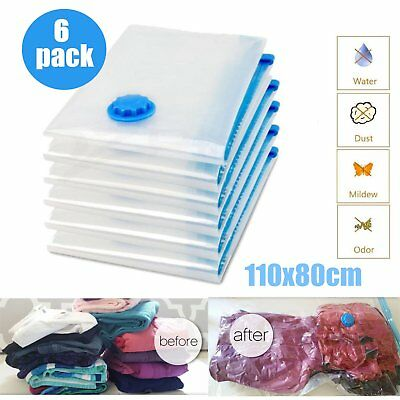 6 x Jumbo VACUUM SEAL GARMENT BAGS SPACE SAVER SAVING QUILT STORAGE BAG US Hot