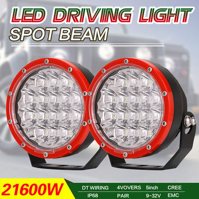 Pair Red Round 21600W 5Inch Cree Led Driving Light Spot Work 4WD Offroad HID SUV