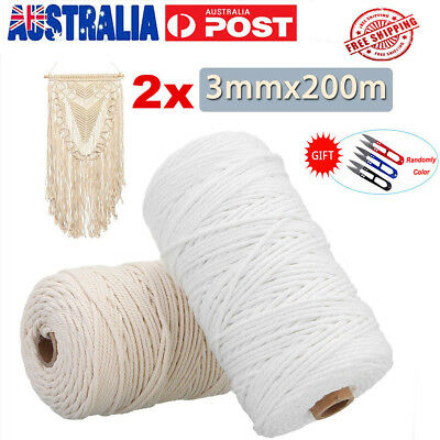 AU 2x 200M 100% Natural Cotton String Twisted Cord Beige Craft 3mm Macrame Rope