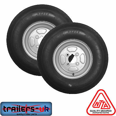"""Pair of 500 X 10"""" Trailer Wheels and tyres 4ply 4"""" PCD - 710kg"""