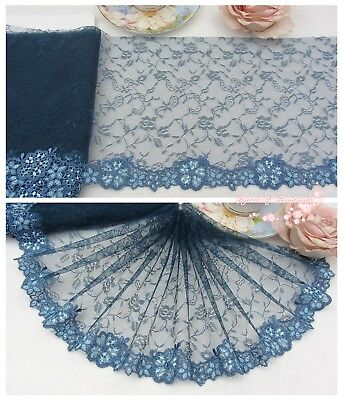 "7.5""*1Y Embroidered Floral Tulle Lace Trim~Teal Blue~Special Enchantment~Sewing~"