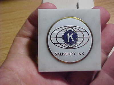 PAPER WEIGHT  FINE MARBLE BASE MADE IN ITALY Kiwanis Salisbury NC  SHIP FREE