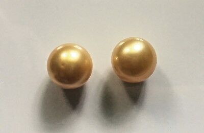 South Sea Saltwater Pearls Loose Golden Round Pair 10 Mm Aa + Untreated , Lombok