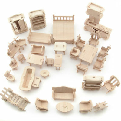 34Pcs/ Set Vintage Wooden Furniture Dolls House Miniature Kids Gifts Toys NEW