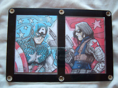Captain America The Winter Soldier duel Artist Sketch Cards