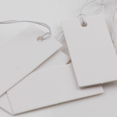 1000Pcs White Blank Paper Label Price Tags Clothing String Craft Tags 40x20mm