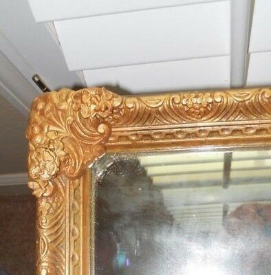 25 x 19 Vintage Antique French Ornate Floral Gold Framed Wall Mirror 100 yrs old