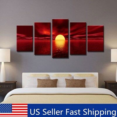5Pcs Framed Modern Sunrise Landscape Canvas Prints Painting Pictures Wall Decor