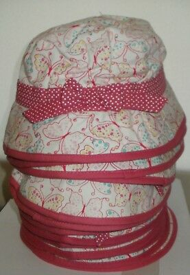 Girls sun hat pink & white with bow x 14 Retirement sale