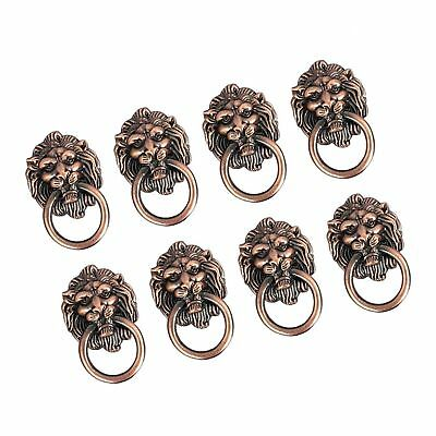 Dresser Drawer Cabinet Door Ring Lion Head Pull Handle Knob 8pcs (A) A