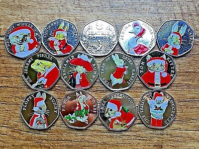 Christmas Sets Of Beatrix Potter 50p coins Snowman Father Xmas Peter Jemima Rare