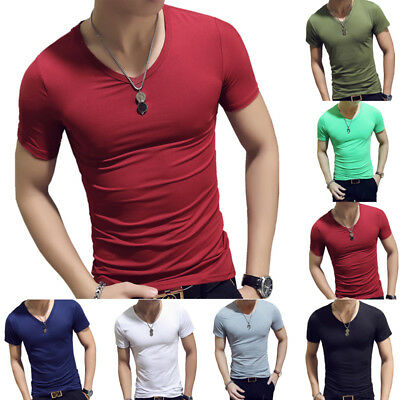 Summer Gym Short Sleeve V-Neck T-Shirt Tight Fit Slim Solid Sports M-2XL