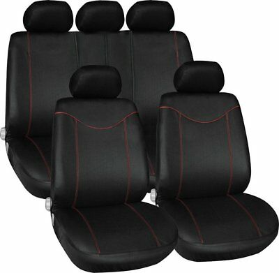 11 pcs Full Seat Cover Set Car Seat Cover Low Front Back Set Black + Red Edge FZ