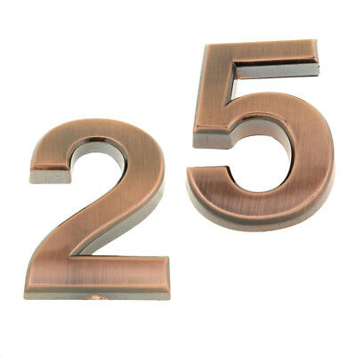 2x House Number Sign Plaque Numbers Address Door Copper Plate 3D Digits 2,5