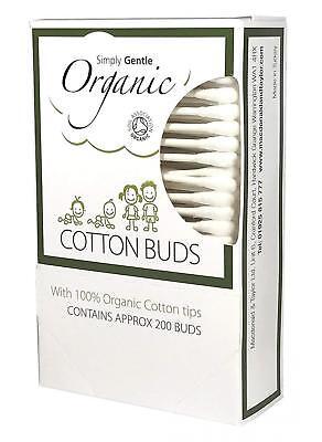 Simply Gentle 100% Organic Cotton Tips (Pack of 200 Buds) NEW