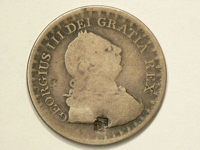 1811 Great Britain 3 Shillings Silver Bank Token Counterstamped 34mm #863