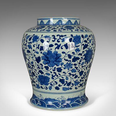 Vintage Chinese Baluster Jar, Oriental Blue & White Cermaic Vase, Mid-Late C20th