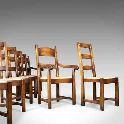 Set of Eight Dining Chairs, C20th English Oak in Victorian Taste, Rush Seats