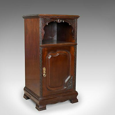 Antique Bedside Cabinet, Carved Mahogany, Nightstand, English, Circa 1910