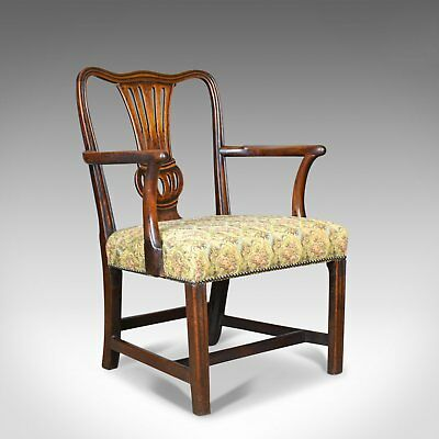 Antique Elbow Chair, English, Georgian, Mahogany, Open Armchair, Circa 1780